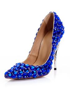 Image of Tacchi alti da donna Royal Blue scarpe a punta strass Party Shoe