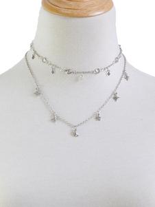 Image of Monili delle donne della collana del pendente della catena della stella di luna della collana a strati d'argento