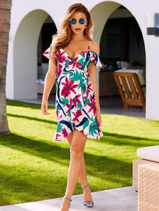 Image of Vestito estivo fasciante con fascioni a fiori Vestito estivo estivo modellante a spalla stampata