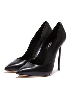 Image of Décolleté in pelle con tacchi alti da donna scarpe con tacchi a