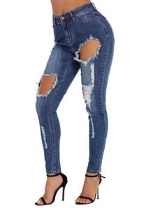 Image of Jeans strappati blu a vita alta Pantaloni skinny strappati a vit