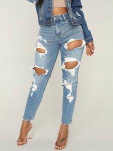 Image of Jeans strappati blu a vita alta skinny attillati pantaloni attil