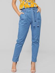 Image of Jeans a vita alta con tasche a cintura blu con tasche a vita alt