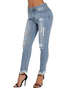 Image of Jeans strappati blu a vita alta attillati skinny denim per le do