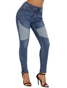 Image of Jeans skinny blu a vita alta con due tasche laterali jeans skinn