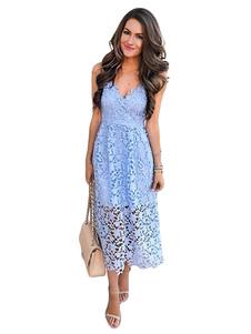 Azul de Encaje Vestido para Mujer 2018 Vestido Largo hasta el Tobillo Largo Vestido de Fiestaes