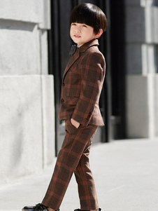 Image of Ring Bearer Outfit Wedding Tuxedo Boys Tute Plaid Kids Abbigliam