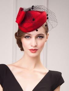 Image of Costume Carnevale Red Fascinator Cappello Retro Donna Cappello d