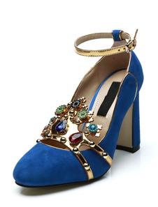 Image of Blu tacchi alti lana punta rotonda strass cinturino alla caviglia scarpe da sera scarpe da sera da donna