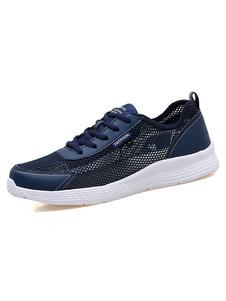 Image of Scarpe da corsa per uomo Sneakers Traspiranti con lacci blu scur