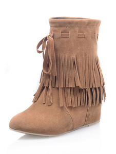 Image of Suede Ankle Boots Brown Round Toe Wedge Booties With Tassels For