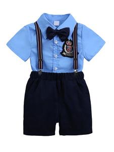 Image of Tuta Portanumeri Blue Boys Outfit Suspender Shorts Camicie T-shirt manica corta per bambini Abbigliamento formale
