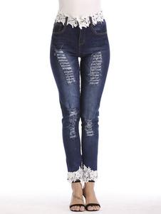 Image of Jeans strappati blu con jeans strappati
