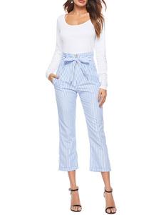 Image of Pantaloni a righe da donna Pantaloni blu Pantaloni a vita alta t