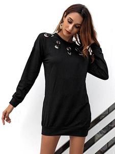 Aro de manga larga con forma de vestido negro Shift Mini vestido de manga larga