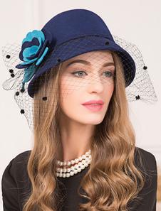 Image of Cappello in lana Retro Donna Royal Blue Cloche Cappello Fiori Vi