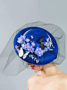Image of Copricapo Royal Wedding Royal Blue Fascinator Hat con velo