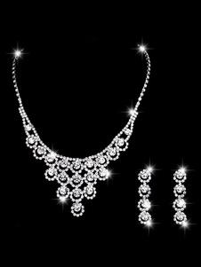 Image of Collana di nozze Set orecchini in argento e collana set di gioie