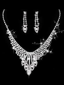 Image of Collana di nozze Set di perle di argento Orecchini e collana di