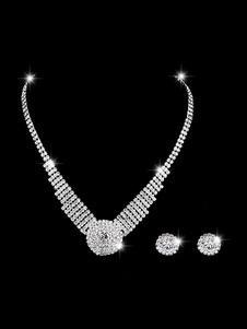 Image of Collana di nozze Set Orecchini a bottone in argento e collana Se