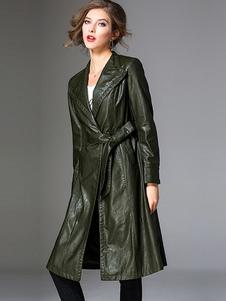 Abrigo informal de abrigo de piel sintética de mujer abrigo de piel sintética Hunter Abrigo de abrigo verde