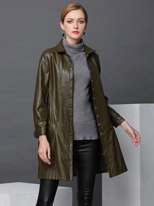 Abrigo de invierno de mujer Chaqueta de cuero de imitación Hunter Abrigo largo de color verde
