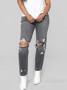 Image of        Jeans strappati skinny a vita alta grigi skinny afflitti da donn