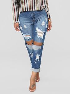 Image of Jeans skinny jeans strappati blu jeans donna
