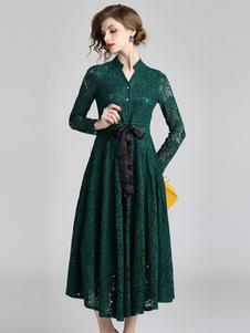 Image of Abito di pizzo verde abito manica lunga abito party stand colletto bottoni abito autunno