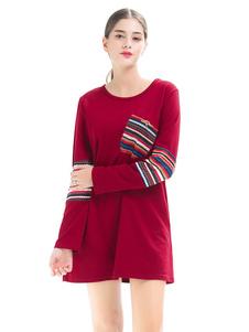 Image of Abito manica lunga T-shirt Abito donna mini abito girocollo con