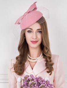 Image of Cappello di lana Retro donne Pink Fascinator Cappello Vintage co