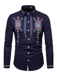 Image of Camicia casual da uomo a maniche lunghe con ricamo stile etnico
