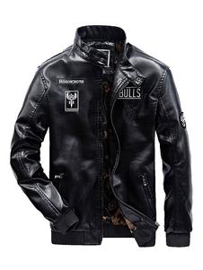 Giacca da moto 2020 in pelle nera da uomo rivolto maiche lunghe Giacca da moto