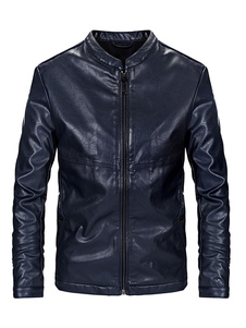 Black Biker Jacket Plus Size Zipper PU Chaqueta Stand Collar Men Chaqueta de cuero