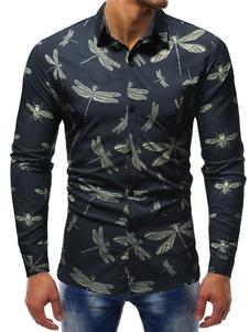 Image of Camicia casual da uomo Camicia a maniche lunghe slim fit con sta