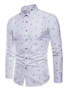 Image of Camicia uomo bianca Camicia manica lunga casual slim fit stampa