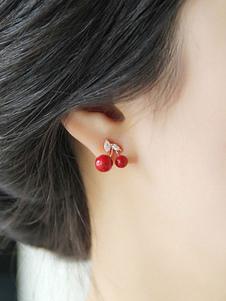 Image of Orecchini a forma di ciliegia orecchini gioielli con pietre rockabilly per lei