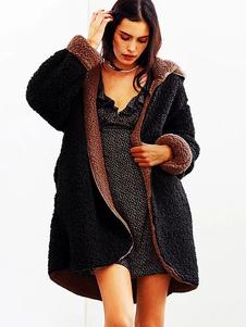 Image of Cappotto con cappuccio in pelliccia sintetica Donna Cappotto con