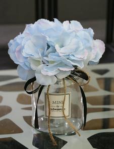 Boda Decoraciones de mesa Flor Seda Cielo Azul Cintas Vidrio Florero Comedor Mesa Centro de mesa
