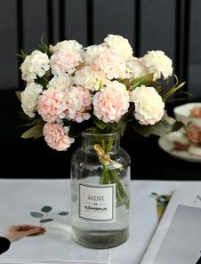 Decoraciones de la mesa de la boda Flor de seda rosa suave Vaso de vidrio Comedor Mesa de centro