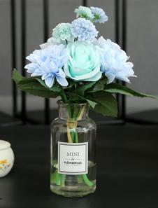 Boda Decoraciones de mesa Flor de seda Cielo azul claro Jarrón de cristal Comedor Mesa de centro