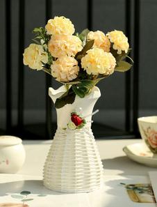 Decoraciones de la mesa de la boda Flor de seda Florero de plástico Comedor Mesa de centro