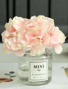 Decoraciones de la mesa de boda Flor de seda rosa Jarrón de cristal Seda Comedor Mesa de centro