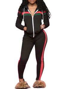 Image of Giacca da donna con coulisse a maniche lunghe a righe nere con c