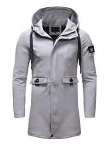 Abrigo con capucha para hombre Talla grande con estampado gráfico Cordón de bolsillo Abrigo gris ajustado
