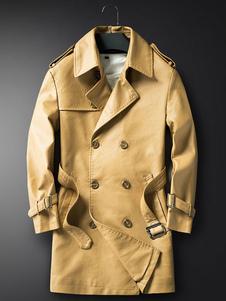 Abrigo de cuero de los hombres Abrigo de trinchera con cinturón de la PU con doble hebilla