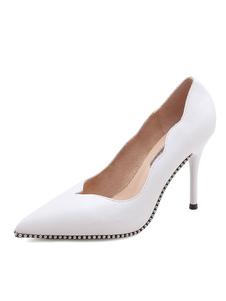 Image of Scarpe con tacchi alti da donna con tacco alto a punta bianca
