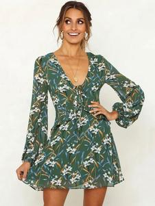 Image of Abito a pieghe floreale Abito a maniche lunghe mini abito scollo a V verde