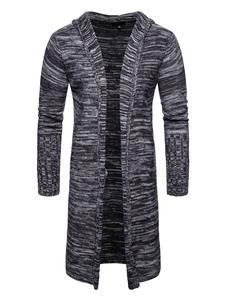 Abrigo de punto con capucha de los hombres de la capa con capucha de manga larga slim fit estampado con capucha