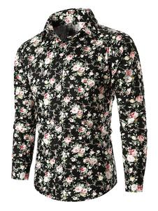 Image of Camicia casual da uomo con camicia a maniche lunghe stampata con